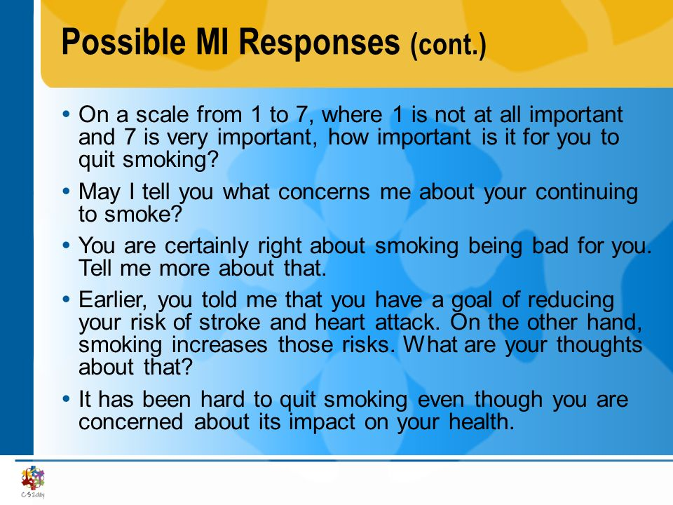 Possible MI Responses (cont.)