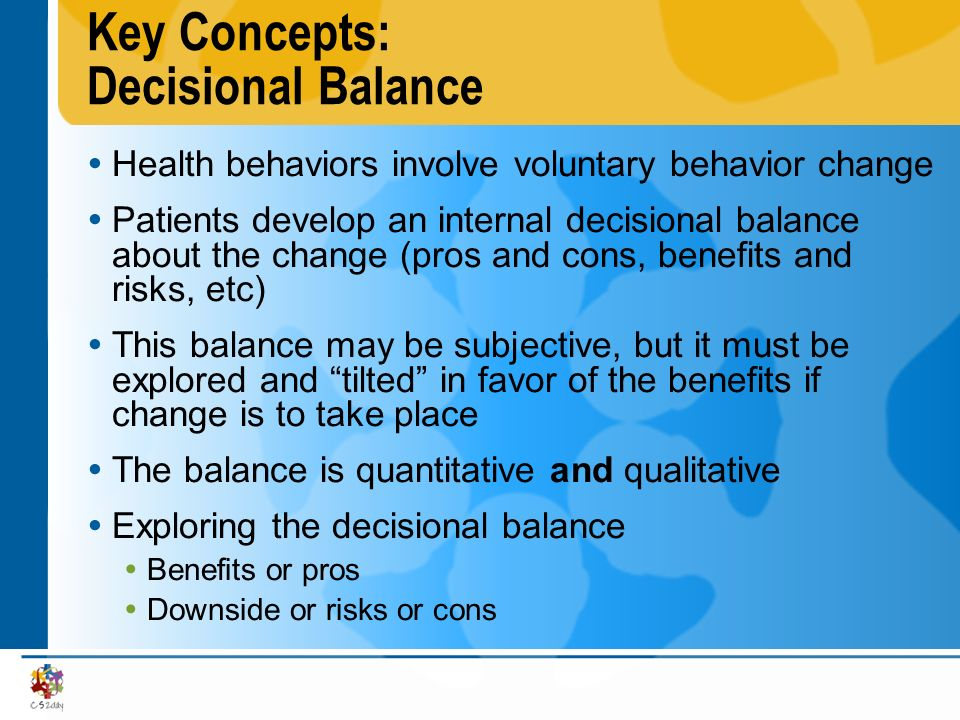 Key Concepts: Decisional Balance