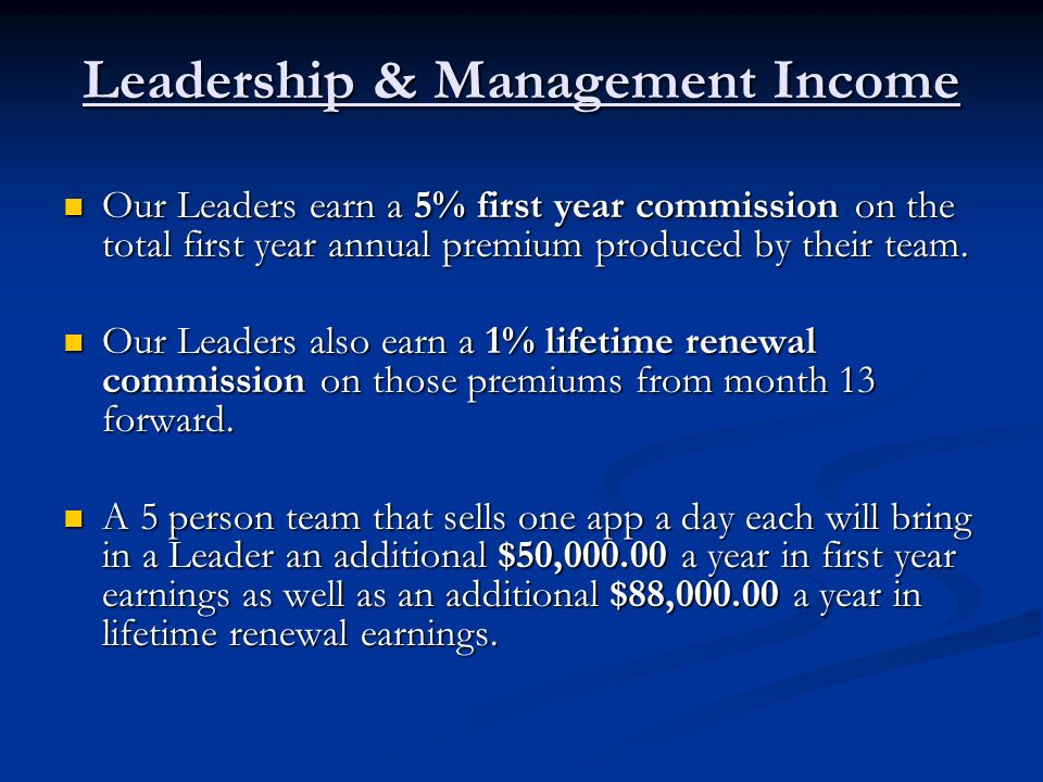 Leadership & Management Income