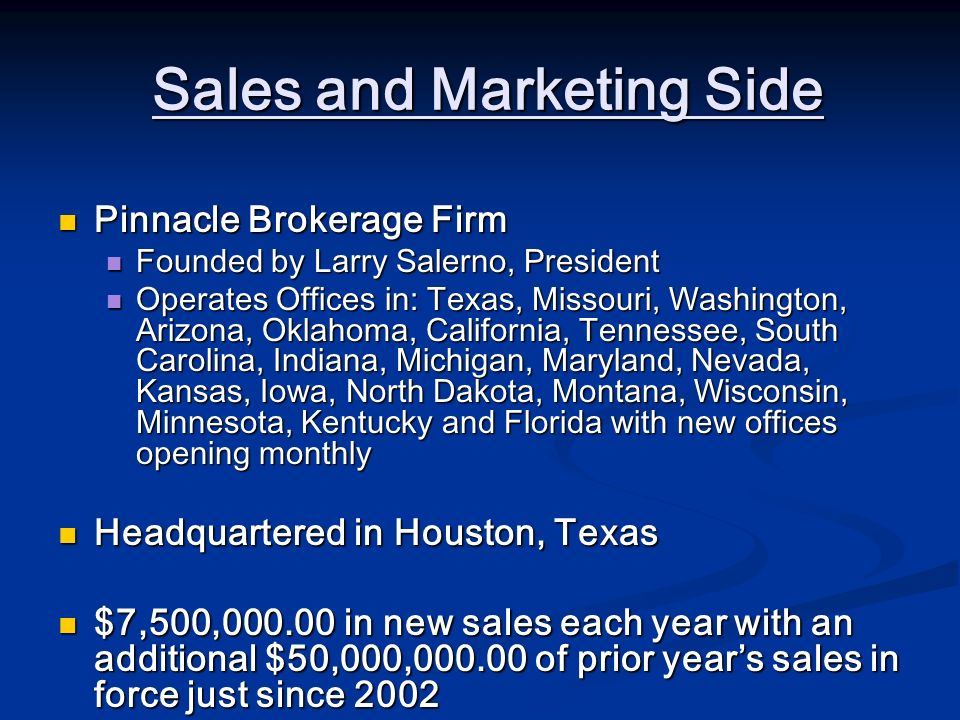 Sales and Marketing Side