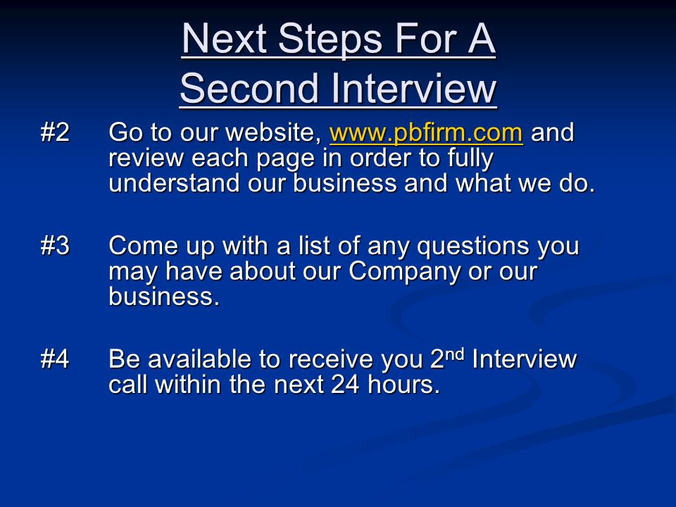 Next Steps For A Second Interview