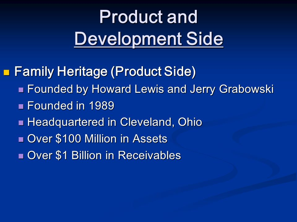 Product and Development Side