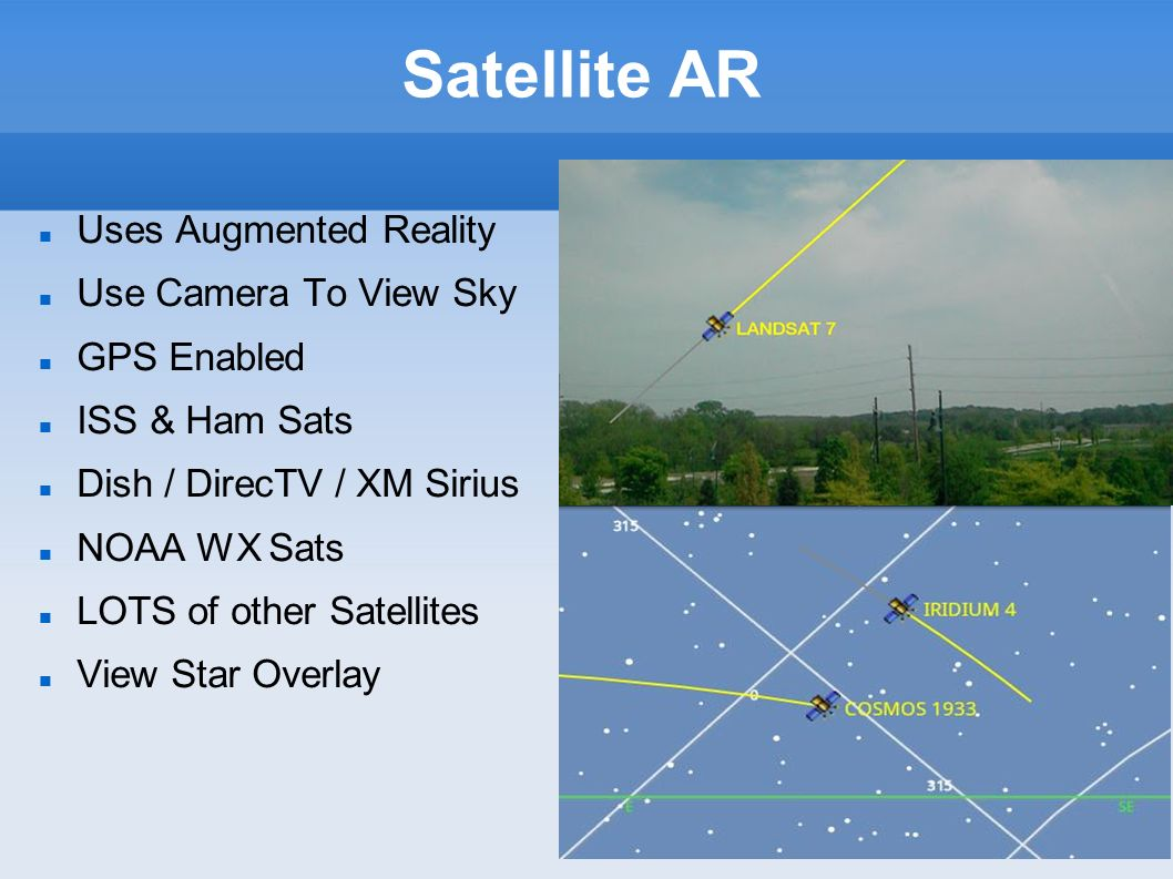 Satellite AR Uses Augmented Reality Use Camera To View Sky GPS Enabled