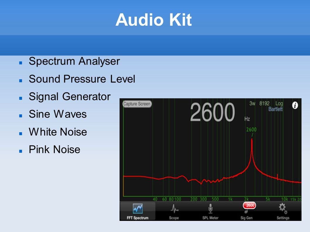 Audio Kit Spectrum Analyser Sound Pressure Level Signal Generator
