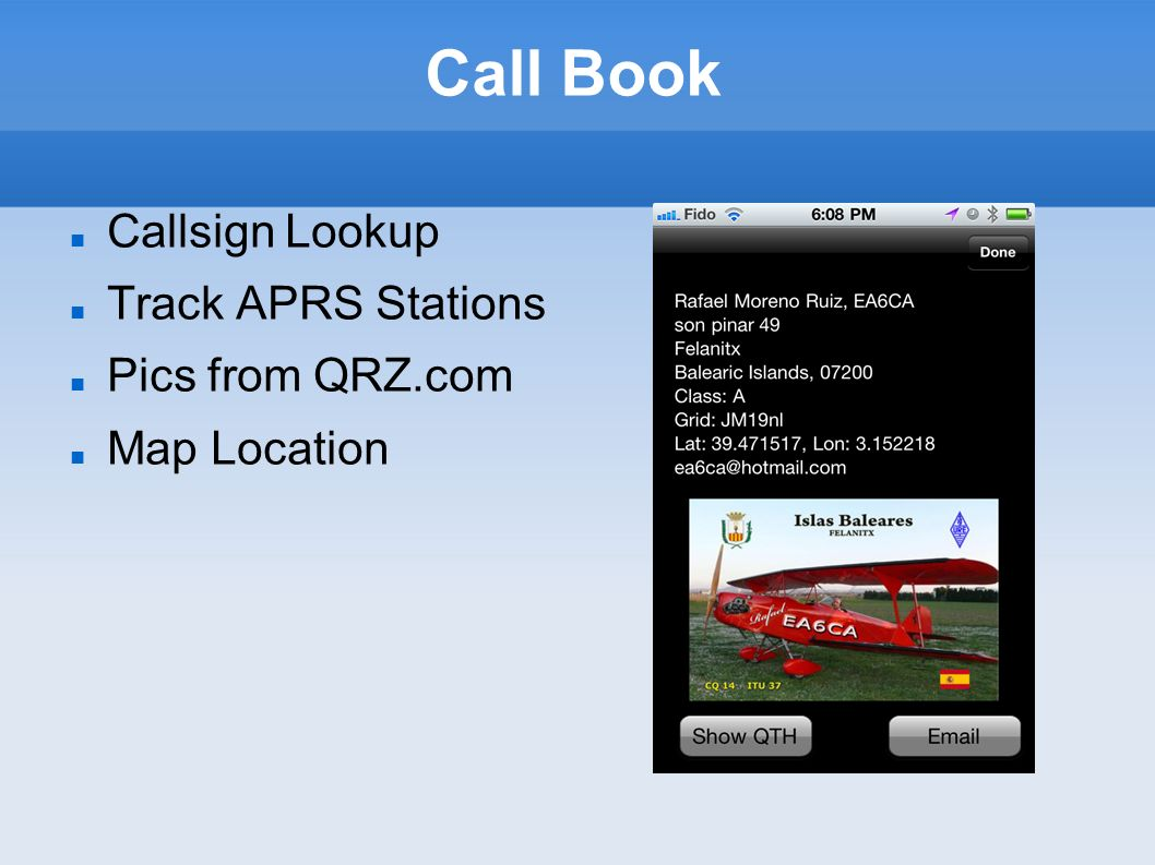 Call Book Callsign Lookup Track APRS Stations Pics from QRZ.com