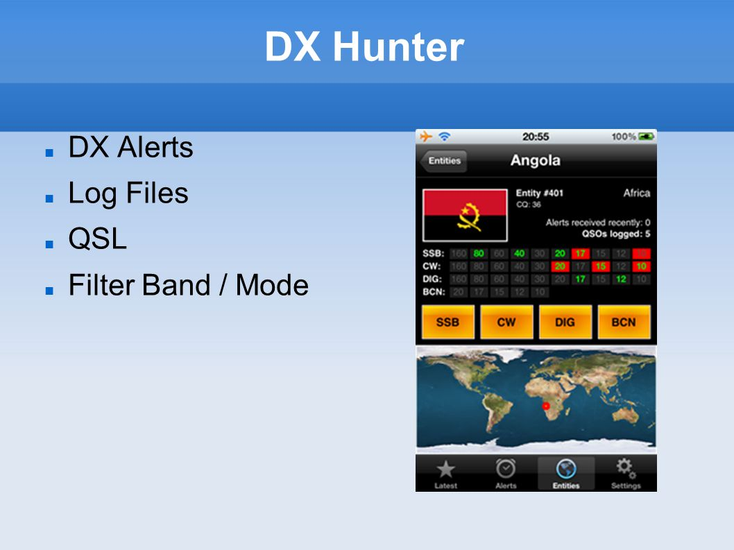 DX Hunter DX Alerts Log Files QSL Filter Band / Mode