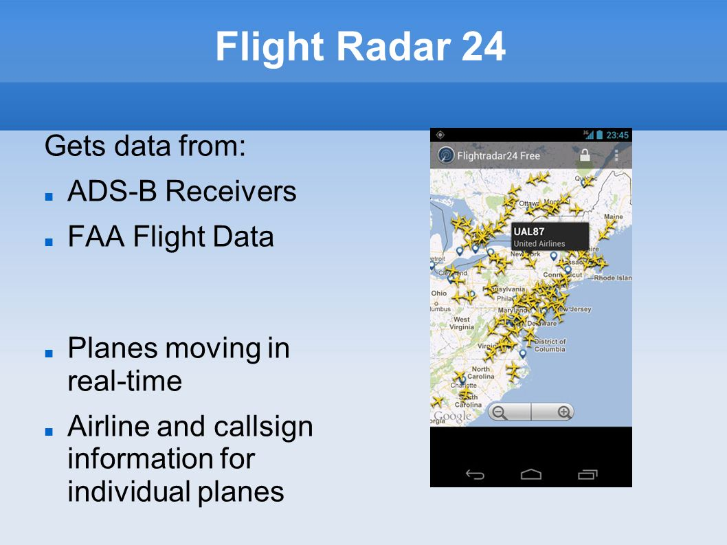 Flight Radar 24 Gets data from: ADS-B Receivers FAA Flight Data