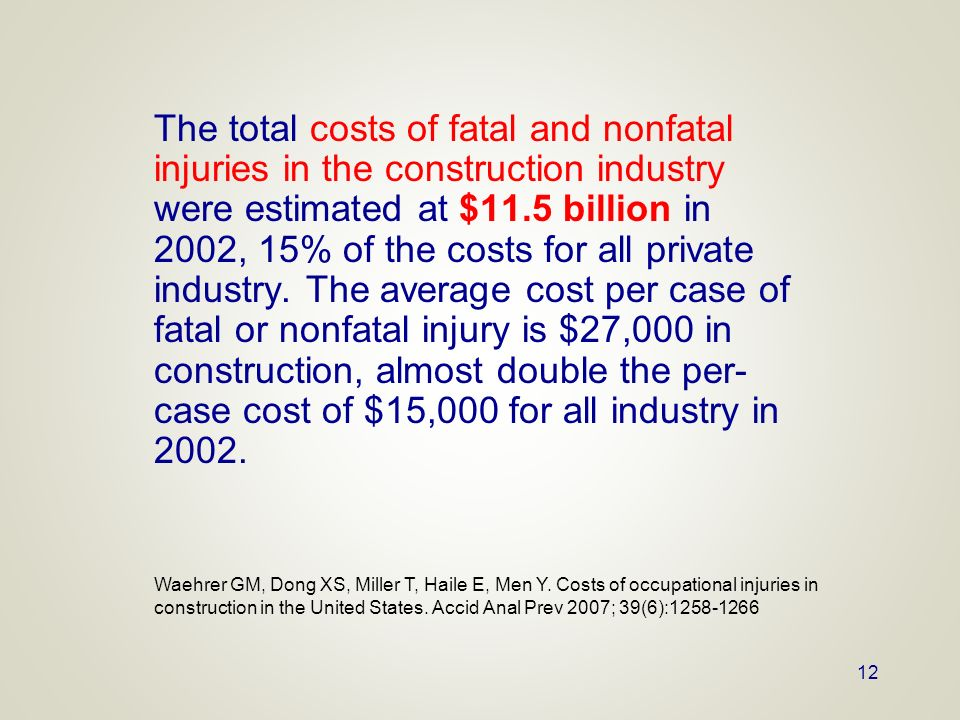 The total costs of fatal and nonfatal injuries in the construction industry were estimated at $11.5 billion in 2002, 15% of the costs for all private industry. The average cost per case of fatal or nonfatal injury is $27,000 in construction, almost double the per-case cost of $15,000 for all industry in 2002.