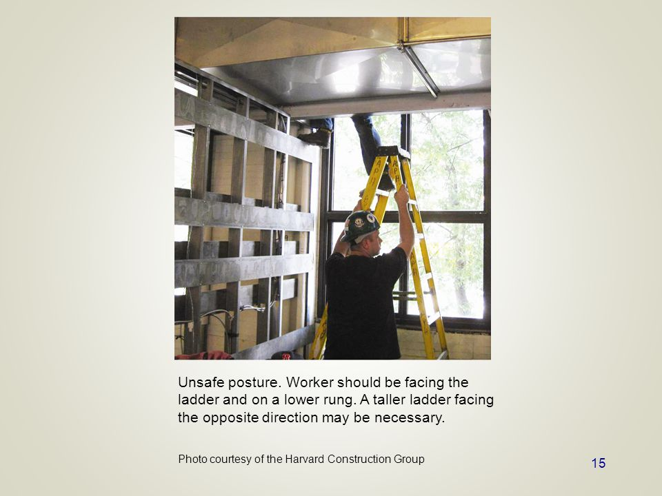 Unsafe posture. Worker should be facing the ladder and on a lower rung