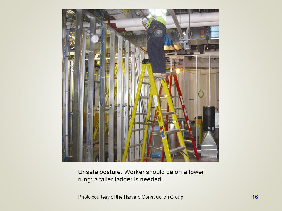 Unsafe posture. Worker should be on a lower rung; a taller ladder is needed.