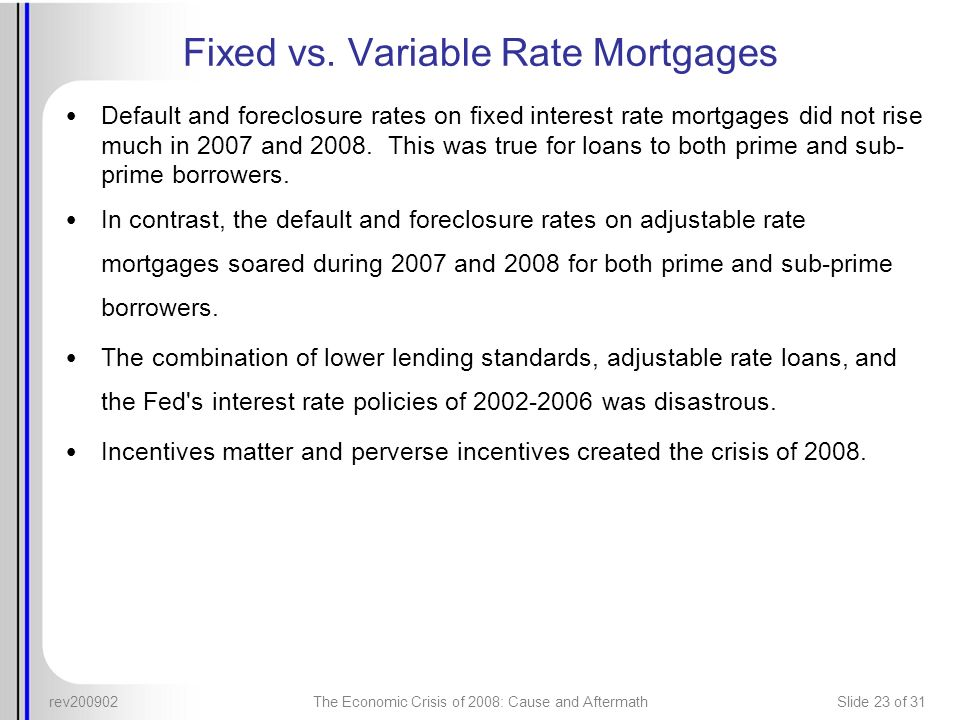 Fixed vs. Variable Rate Mortgages