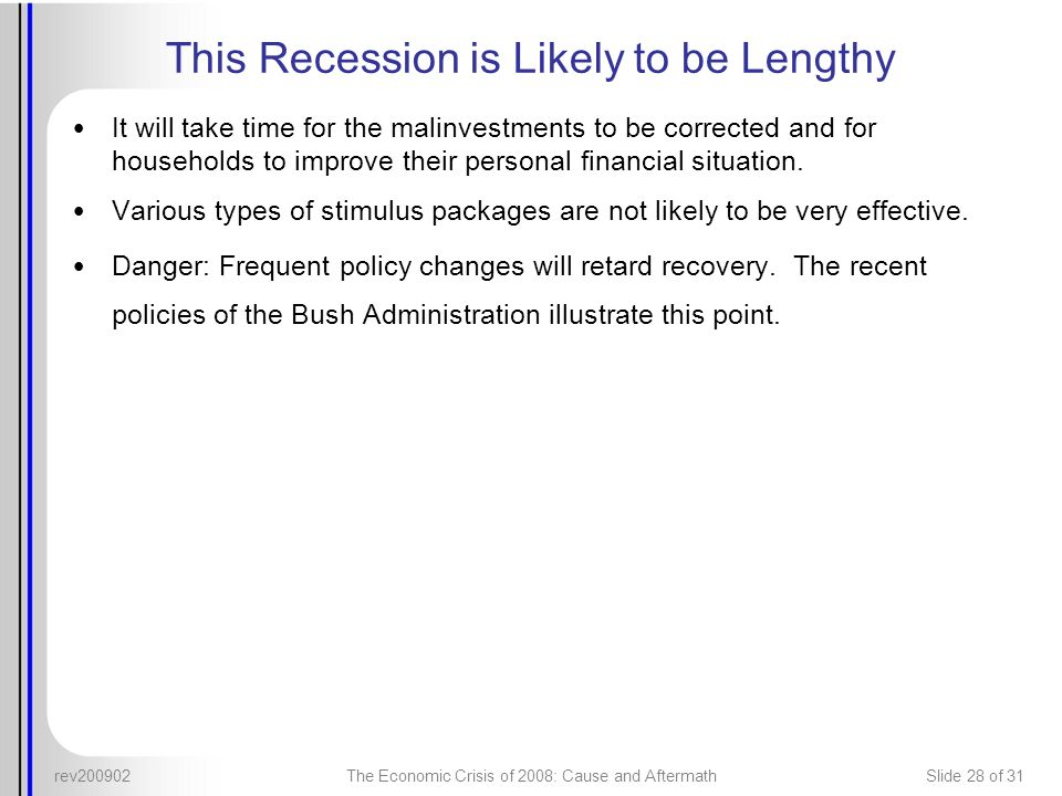 This Recession is Likely to be Lengthy