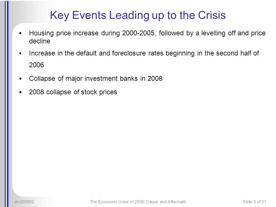 Key Events Leading up to the Crisis