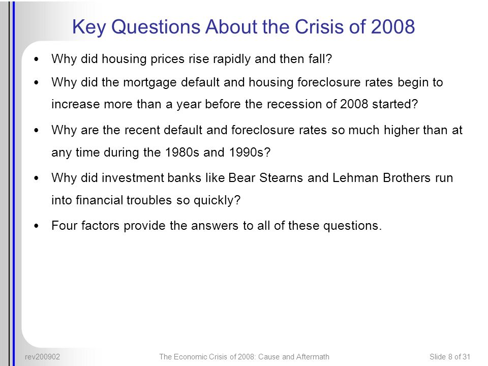 Key Questions About the Crisis of 2008
