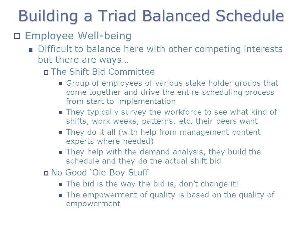 Building a Triad Balanced Schedule
