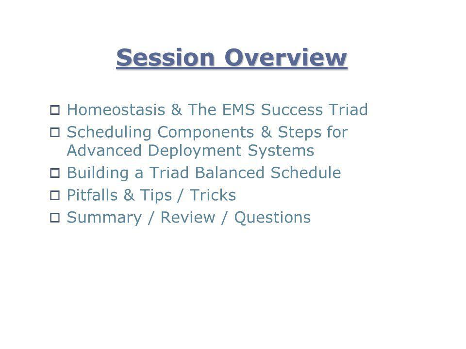 Session Overview Homeostasis & The EMS Success Triad