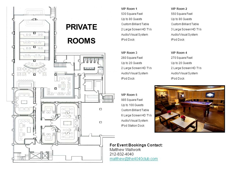PRIVATE ROOMS For Event Bookings Contact: Matthew Wallwork