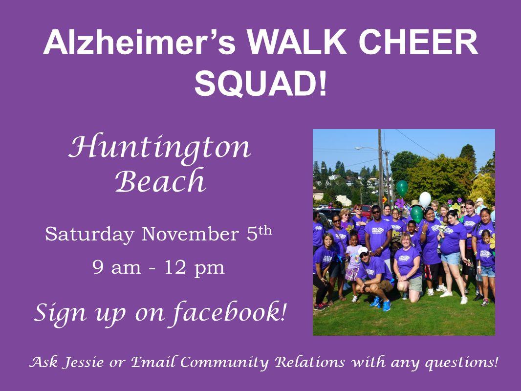 Alzheimer's WALK CHEER SQUAD!