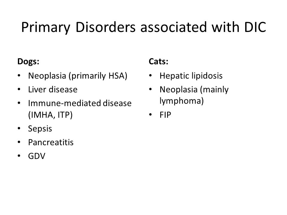 Primary Disorders associated with DIC