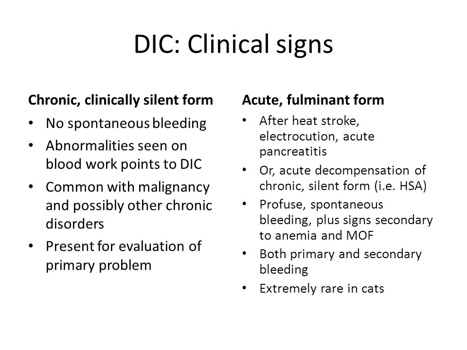 DIC: Clinical signs Chronic, clinically silent form