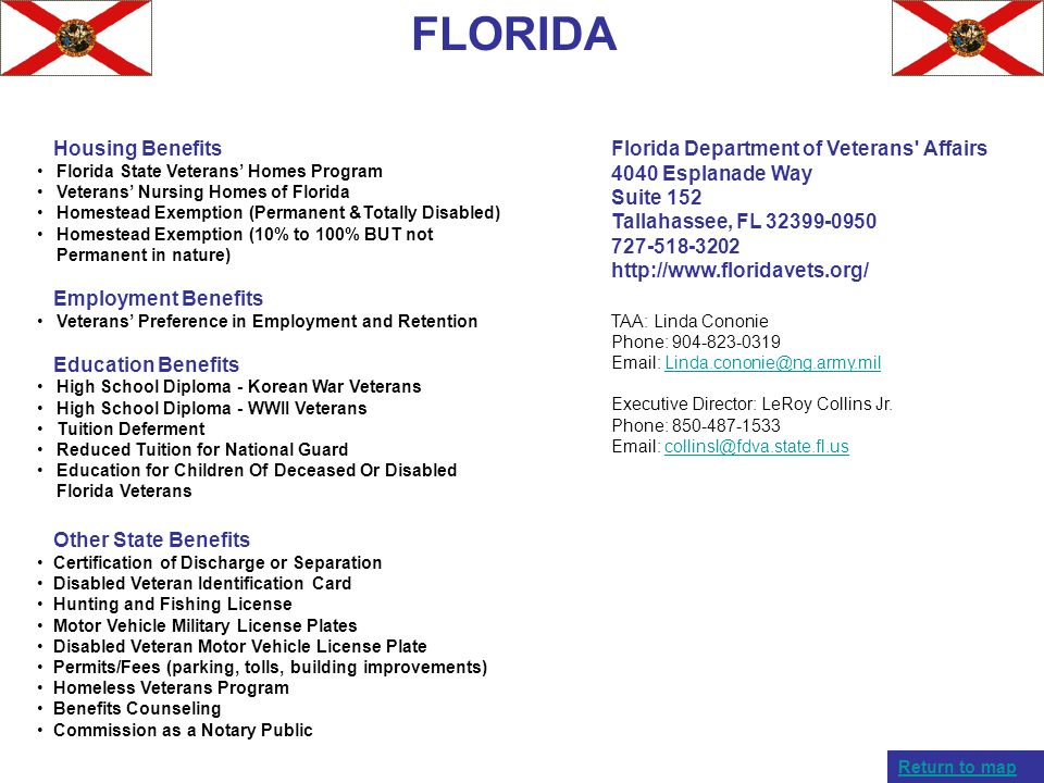 FLORIDA Housing Benefits Employment Benefits Education Benefits