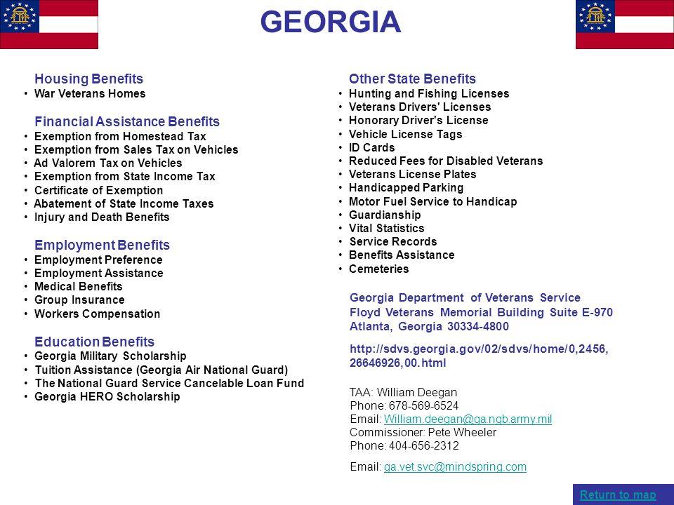 GEORGIA Housing Benefits Financial Assistance Benefits