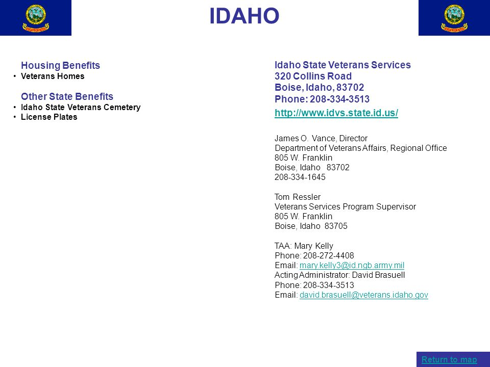 IDAHO Idaho State Veterans Services Housing Benefits 320 Collins Road