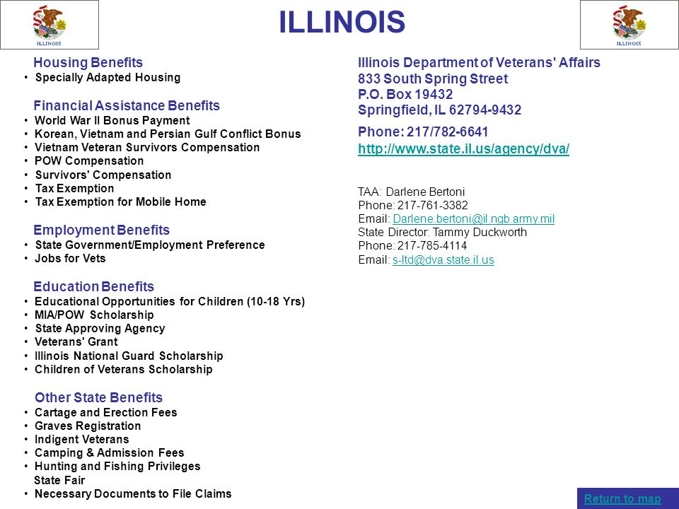 ILLINOIS Housing Benefits. Specially Adapted Housing. Financial Assistance Benefits. World War II Bonus Payment.