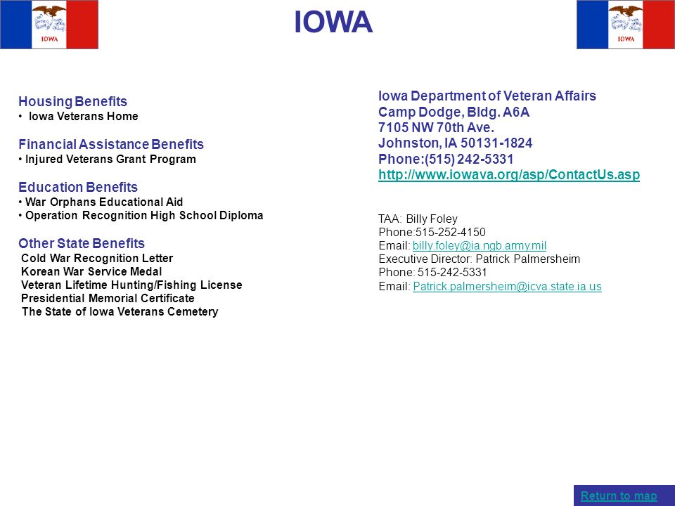 IOWA Iowa Department of Veteran Affairs Housing Benefits