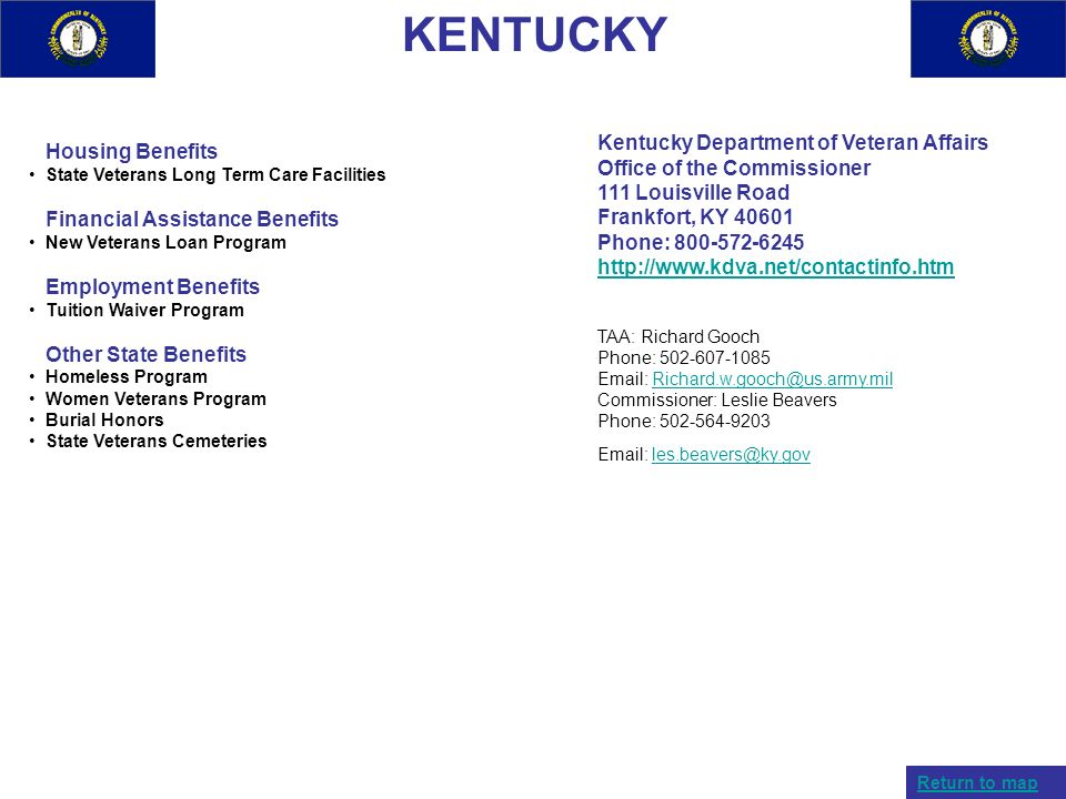 KENTUCKY Kentucky Department of Veteran Affairs Housing Benefits