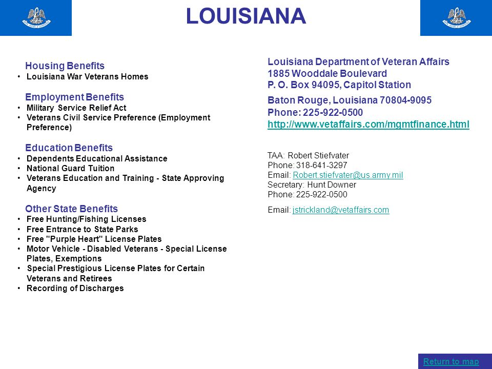 LOUISIANA Louisiana Department of Veteran Affairs Housing Benefits
