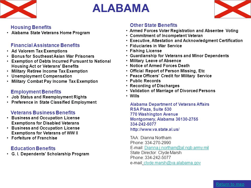 ALABAMA Other State Benefits Housing Benefits