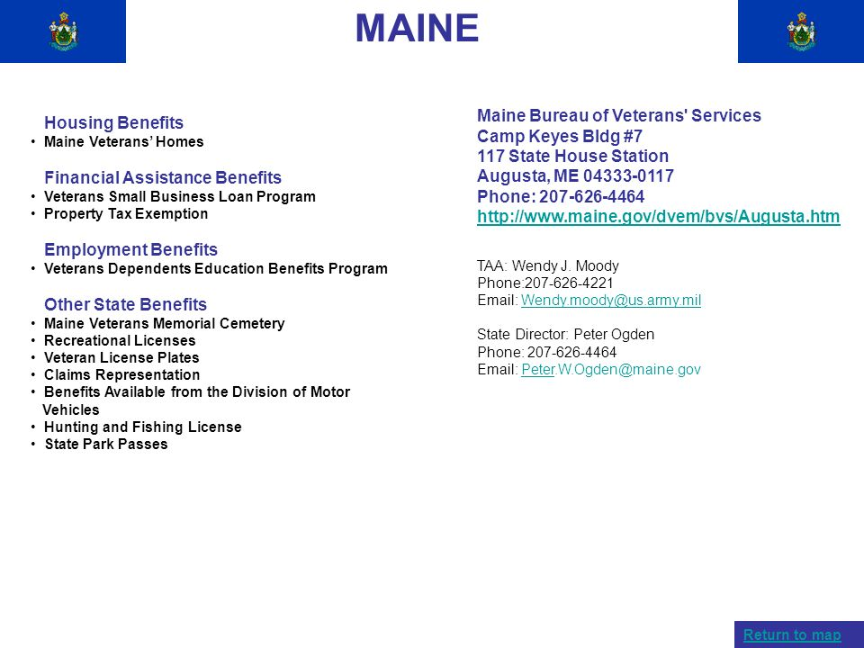 MAINE Maine Bureau of Veterans Services Housing Benefits