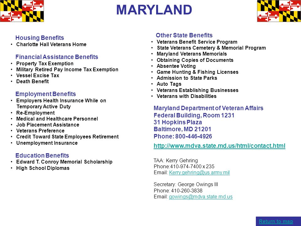 MARYLAND Other State Benefits Housing Benefits