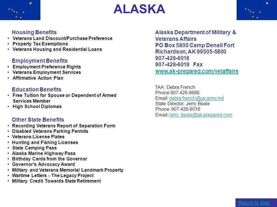 ALASKA Housing Benefits Employment Benefits Education Benefits