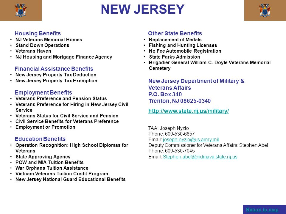 NEW JERSEY Housing Benefits Financial Assistance Benefits