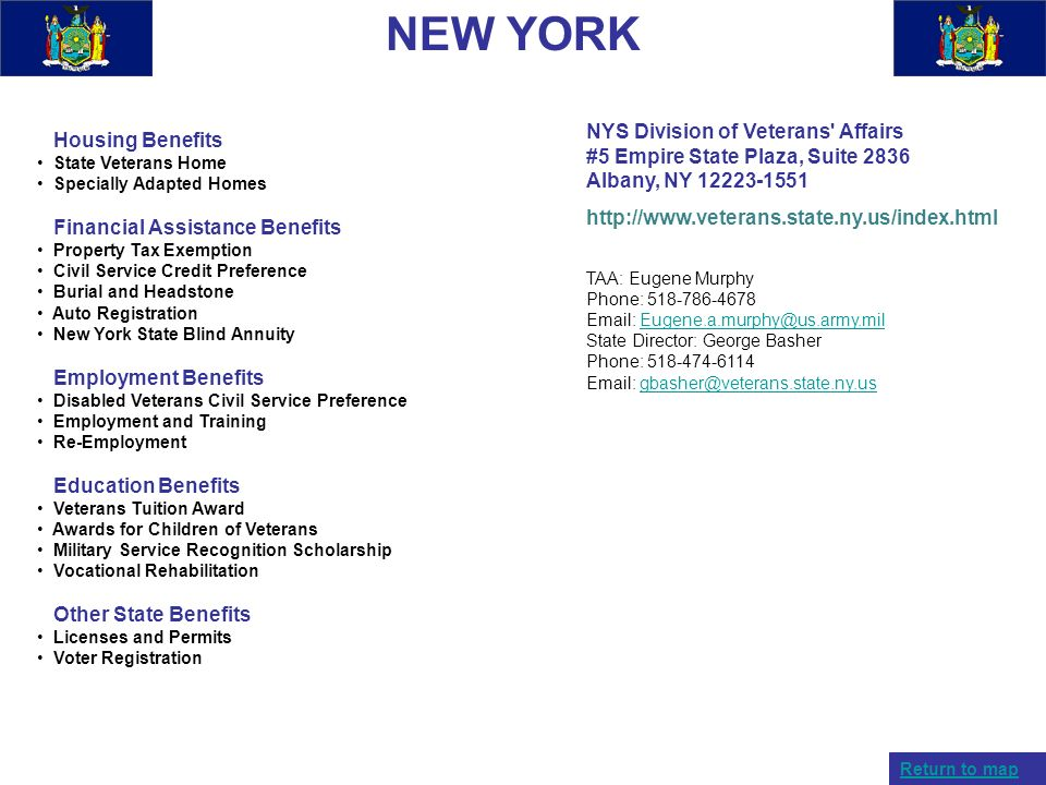 NEW YORK NYS Division of Veterans Affairs #5 Empire State Plaza, Suite 2836 Albany, NY 12223-1551.