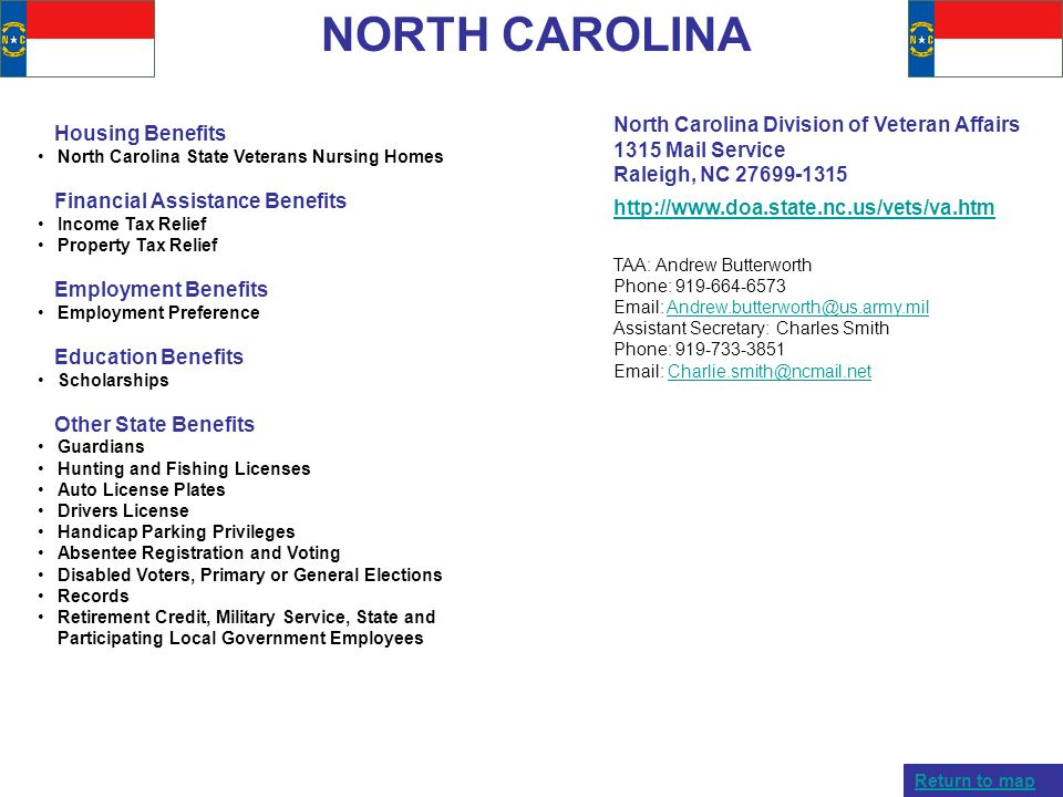 NORTH CAROLINA North Carolina Division of Veteran Affairs