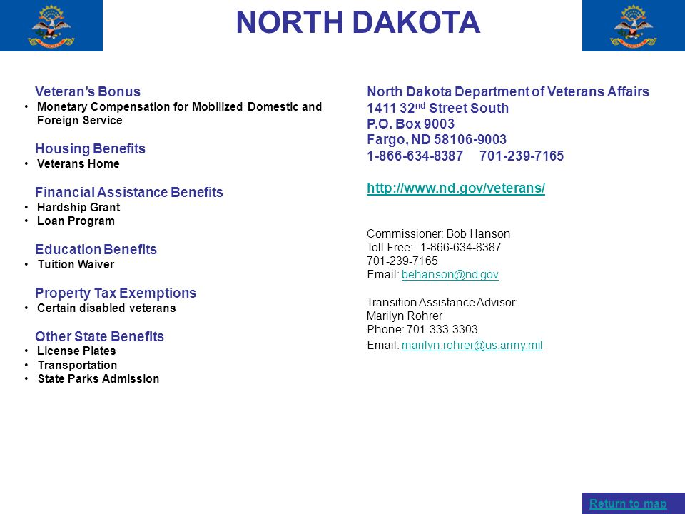 NORTH DAKOTA Veteran's Bonus Housing Benefits