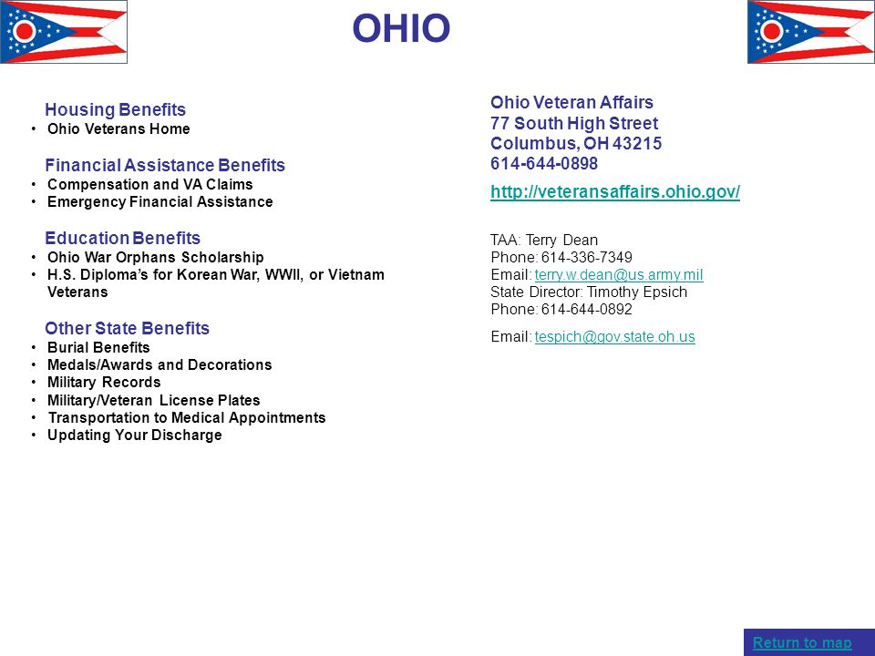 OHIO Ohio Veteran Affairs Housing Benefits 77 South High Street