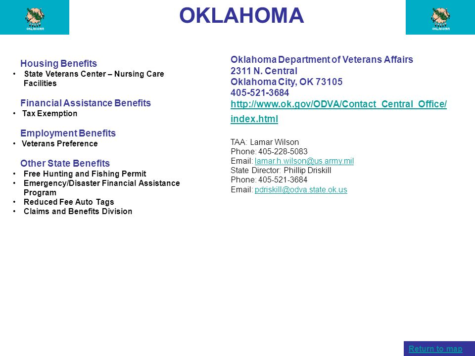 OKLAHOMA Oklahoma Department of Veterans Affairs Housing Benefits