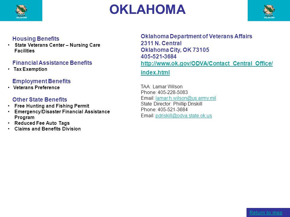 OKLAHOMA Oklahoma Department of Veterans Affairs Housing Benefits
