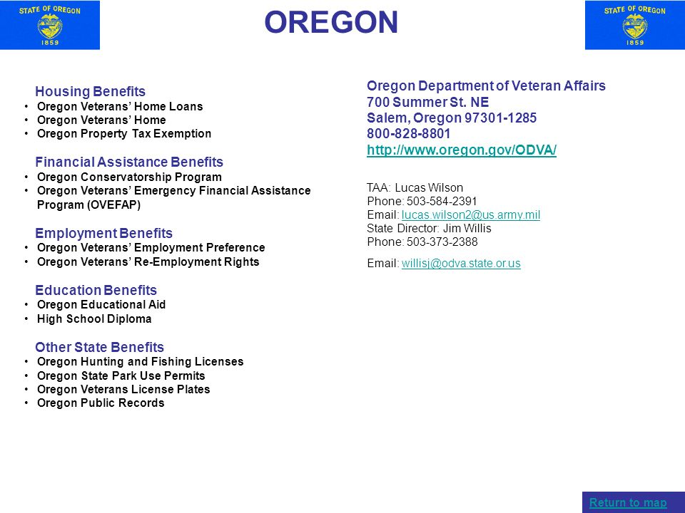 OREGON Oregon Department of Veteran Affairs Housing Benefits