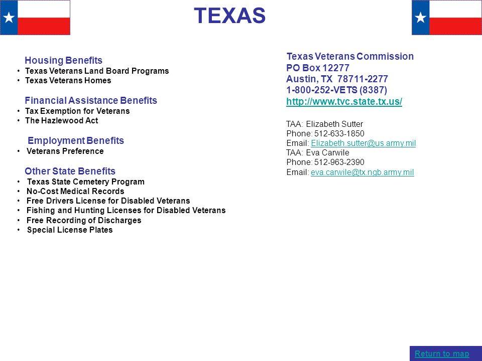 TEXAS Texas Veterans Commission Housing Benefits PO Box 12277