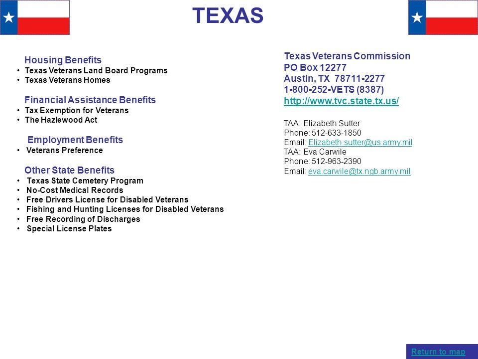 TEXAS Texas Veterans Commission Housing Benefits PO Box 12277