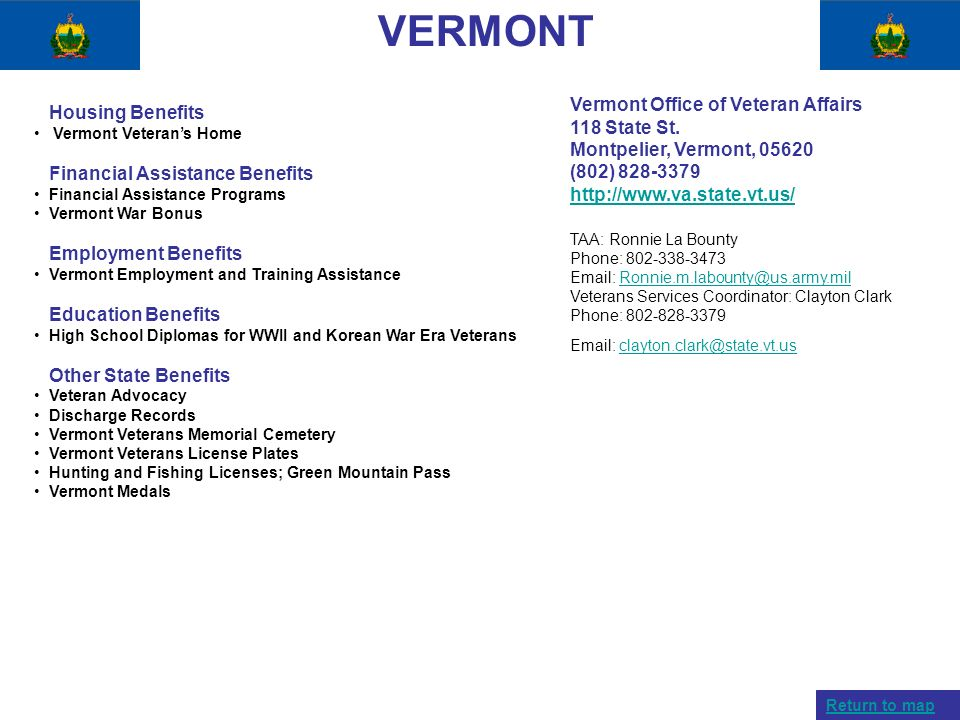 VERMONT Vermont Office of Veteran Affairs Housing Benefits
