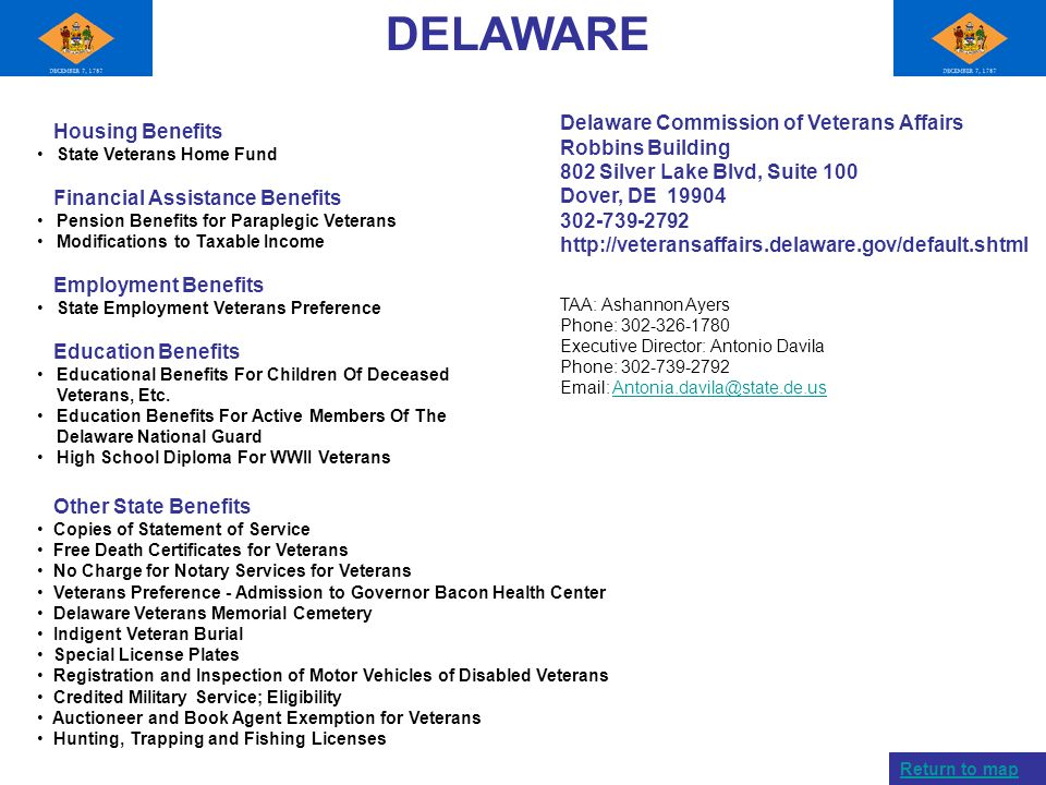 DELAWARE Delaware Commission of Veterans Affairs Robbins Building 802 Silver Lake Blvd, Suite 100 Dover, DE