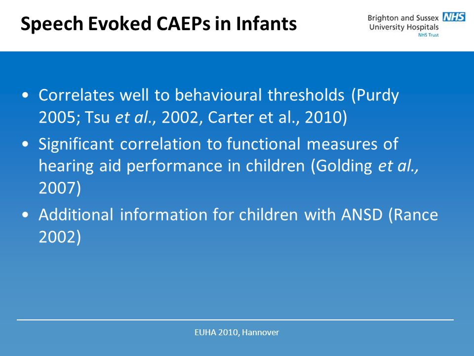 Speech Evoked CAEPs in Infants