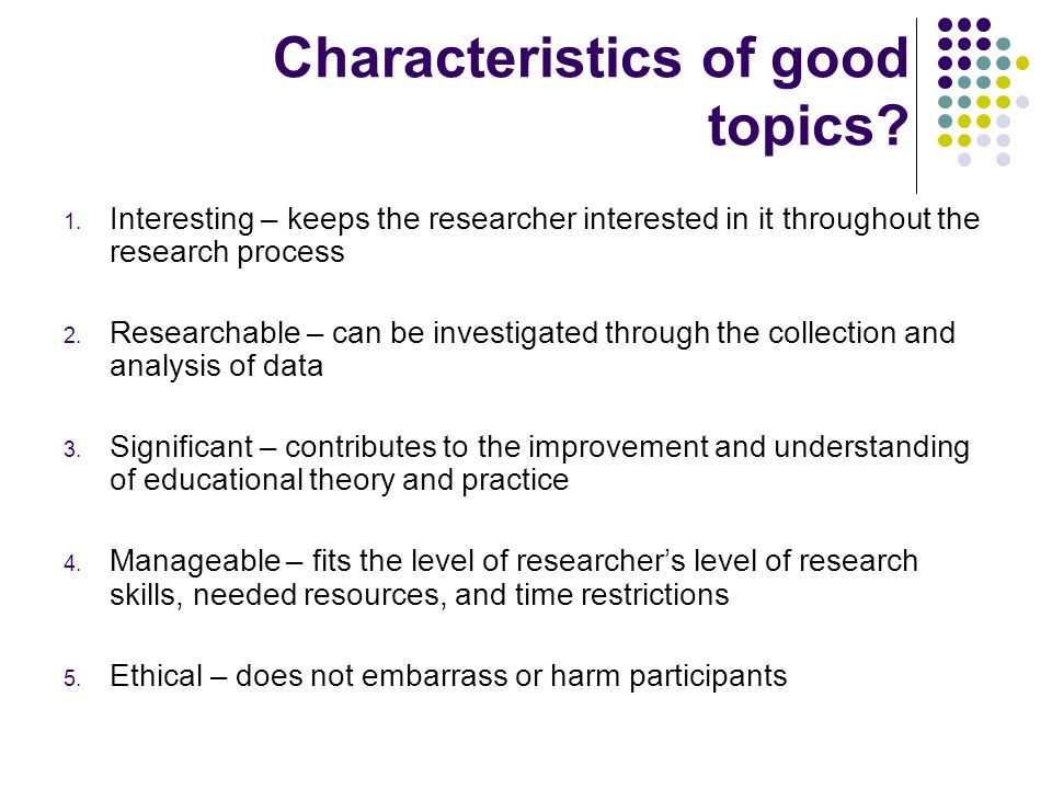 Characteristics of good topics
