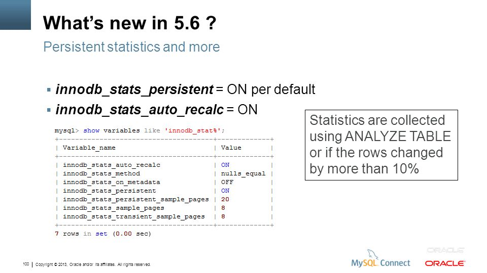 What's new in 5.6 Persistent statistics and more